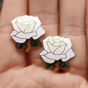 NWT Vintage cloisonne white ivory rose green leaf